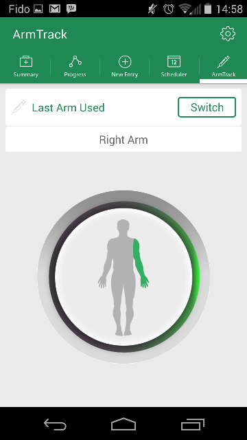 screenshot of arm-tracking tool